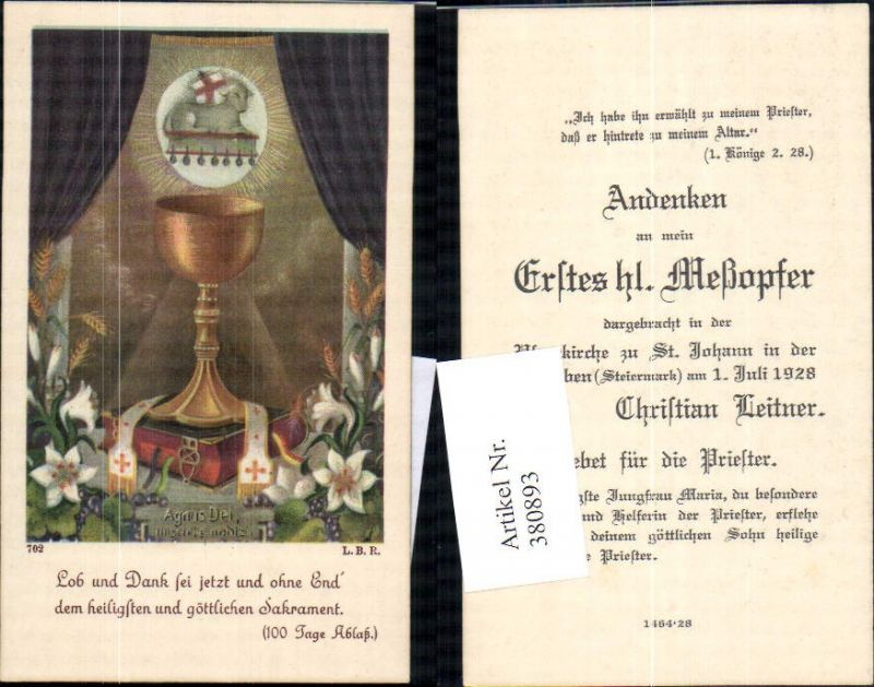 Andachtsbild Heiligenbildchen Kelch Lamm Gottes Blumen Bibel Text Nr ...