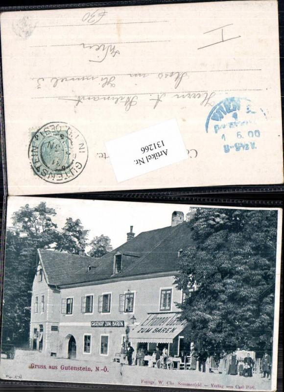RAR Gruss aus Gutenstein Gasthaus zum Bären E. Pranner 1900