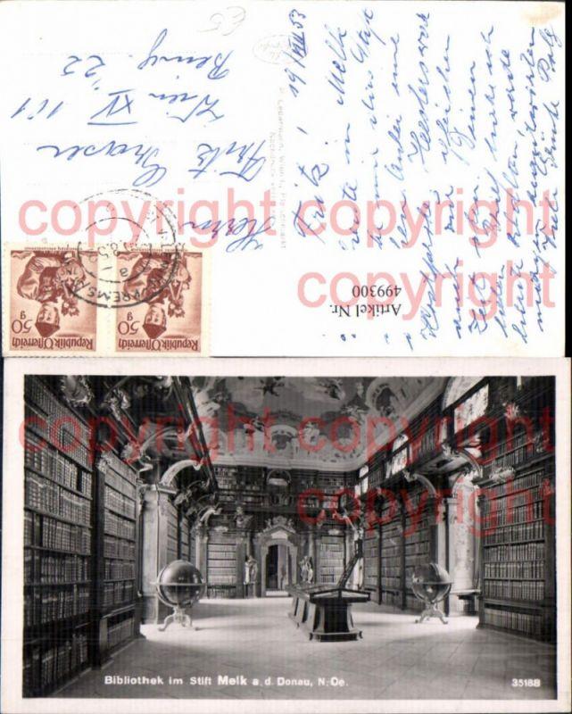 Foto Ak Bibliothek Stift Melk a. d. Donau Globus