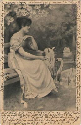 26939;H. Horwitz Frau Schwäne am Teich 1900