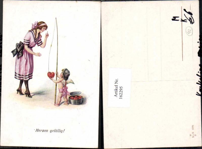 Künstler AK Litho Amor hat Herz geangelt Frau F. Kaskeline unsign.