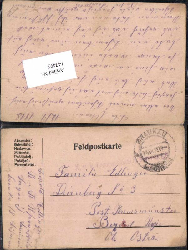 K.K. Feldpost Braunau in Böhmen nach Kremsmünster Edlinger Dirnbach