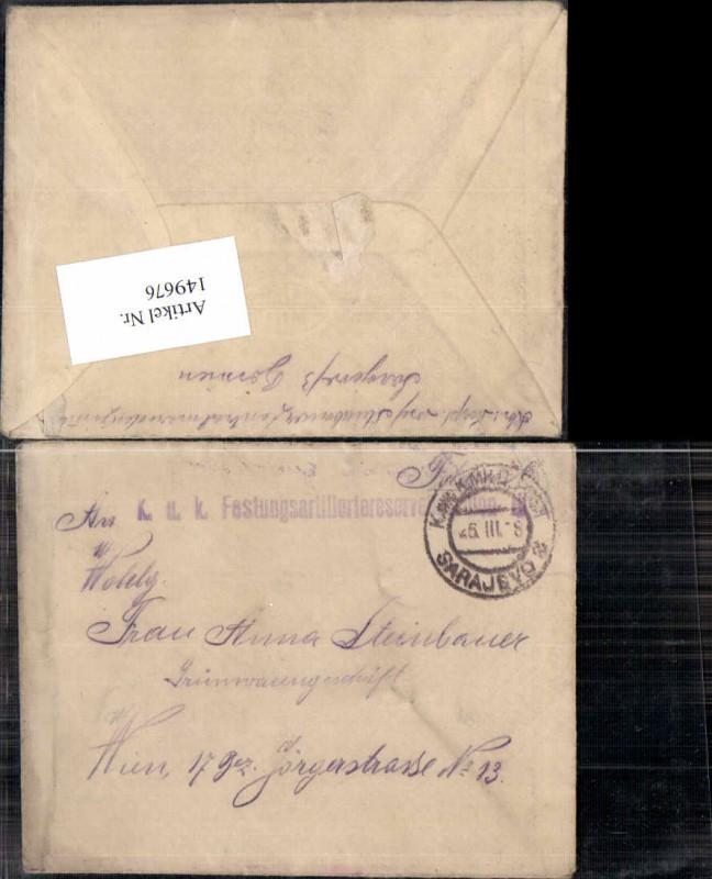 Feldpost WW1 K.K. Militärpost Sarajevo n. Wien Festungsartillerie res. ba