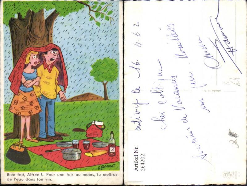 Künstler Ak A. Gondot Paar unter Baum Regen Picknick Spruch Scherz Humor