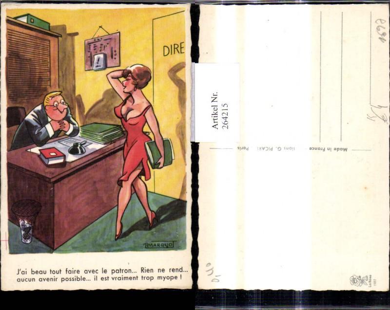 Künstler Ak R. Marquo Sexy Frau v. Schreibtisch Mann Spruch Scherz Humor