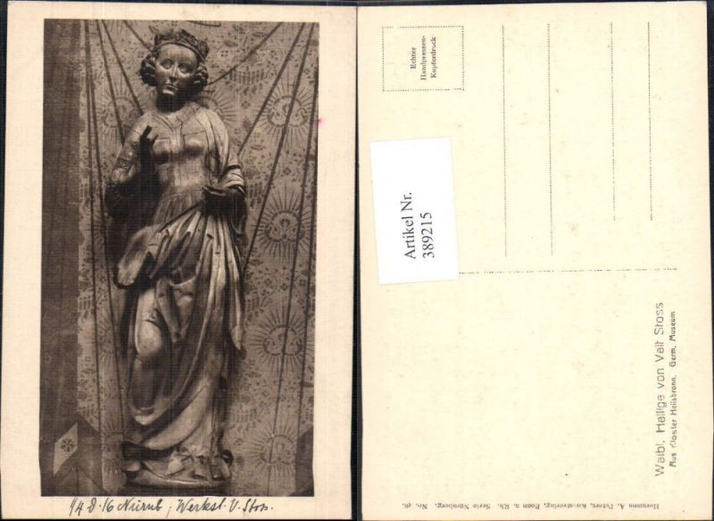 Statue Weibliche Heilige v. Veit Stoss Kloster Heilsbronn Germ. Museum Re
