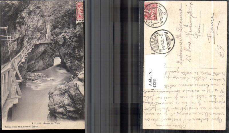 Klettersteig Wallis : Gorges du trient schlucht mit fluss und klettersteig 1907 kt wallis