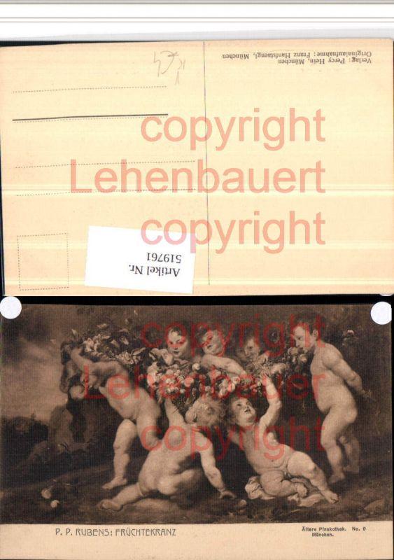 Künstler AK P.P. Rubens Früchtekranz Kinder pub F. Hanfstaengl