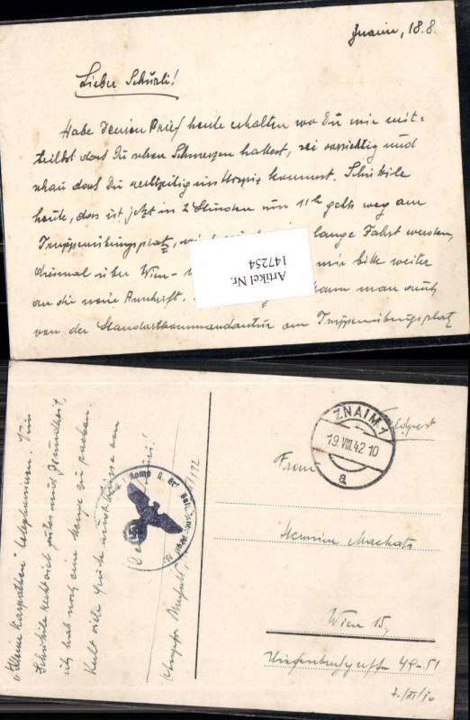 WW2 WK2 Feldpost Znaim 1940 MG Ers. Kp. 2 Batl. 132 Machats Rudolf Wien 1