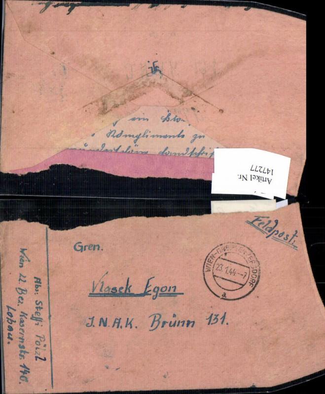WW2 WK2 Feldpost Wien Grossenzersdorf 1944 Vlasek Egon JNAK Brünn 131