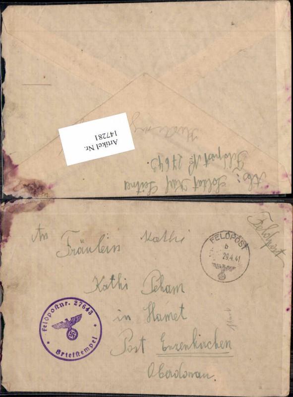 WW2 WK2 Feldpost 1941 n. Hamet Enzenkirchen Kathi Peham Dienststelle 2764