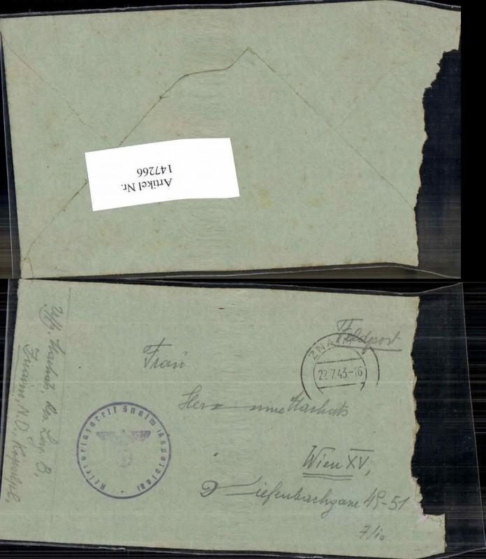 WW2 WK2 Feldpost Znaim 1943 Reserve Lazarett Machats Rudolf ohne brief