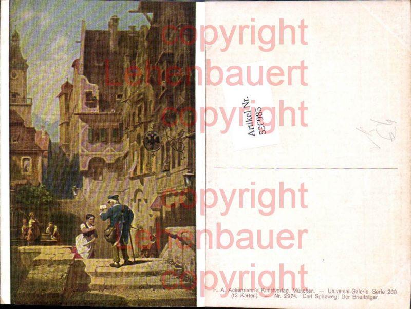 Künstler AK Carl Spitzweg Briefträger Postbote Post Postwesen pub Ackerma