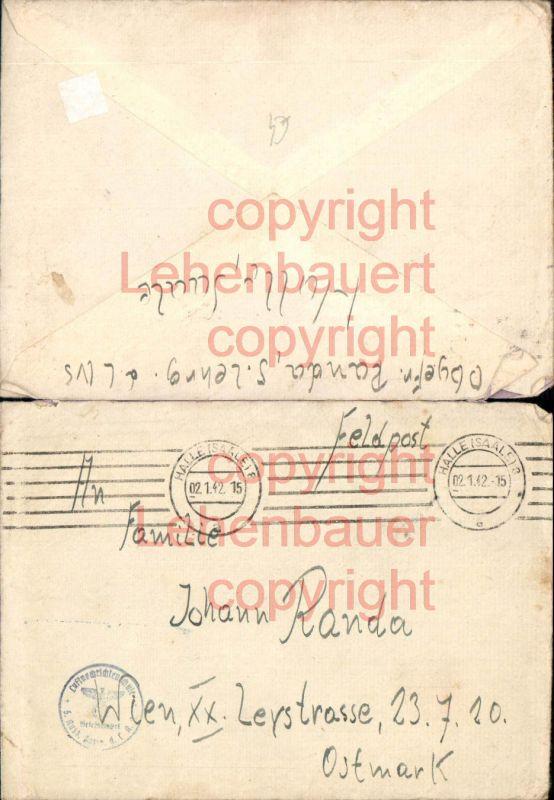 Brief 1942 Feldpost Halle Saale Wien 20 Brigittenau Luftnachrichtenamt