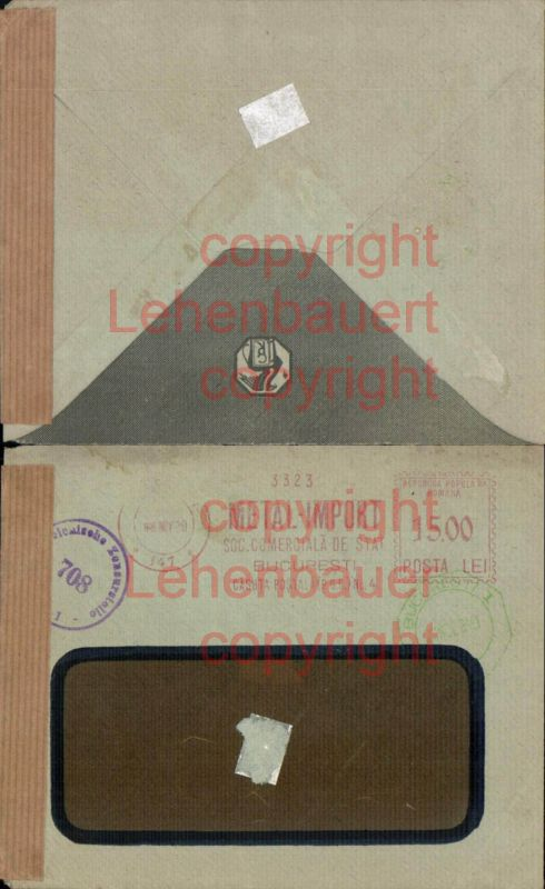 Brief Zensur 1949 Bukarest Bulgarien Bucuresti