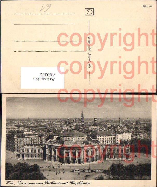 Wien Panorama vom Rathaus m. Burgtheater Theater