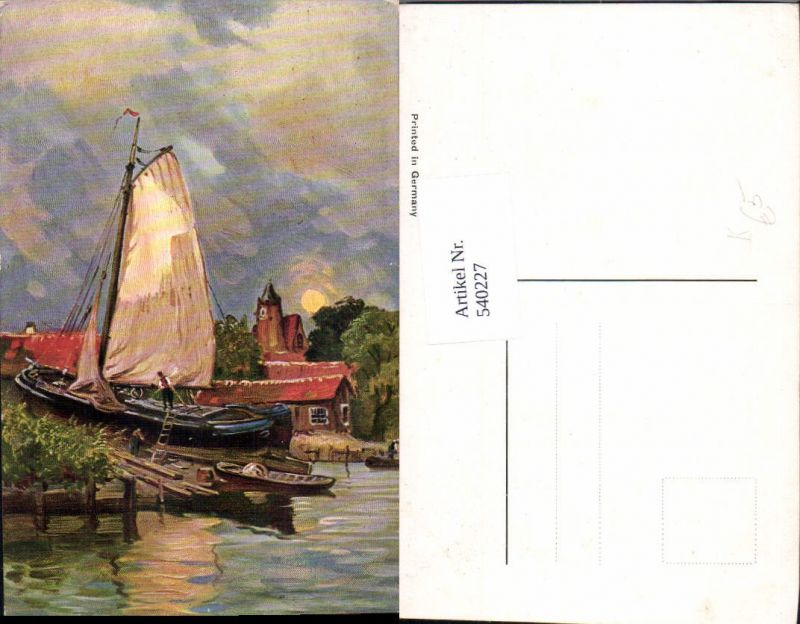 Segelschiff bleistiftzeichnung  Künstler Ak Segelschiff Segelboot Schiff Anleger Boot Nr. 540227 ...