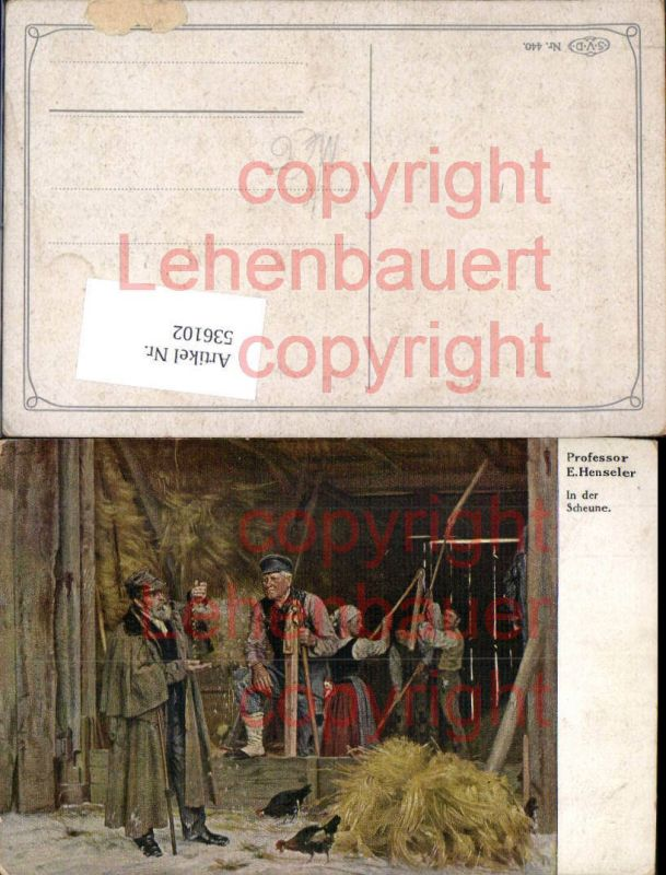 Künstler AK E. Henseler Landwirtschaft Bauern Scheune Stroh