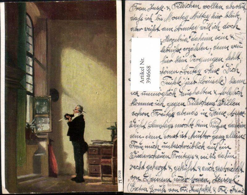 Künstler AK C. Spitzweg Der Schreiber Mann m. Brille Fenster pub A. Acker