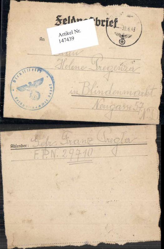 WW2 WK2 Feldpost Pregler Dienststelle 34367 Helene Pregenzer Blindenmarkt