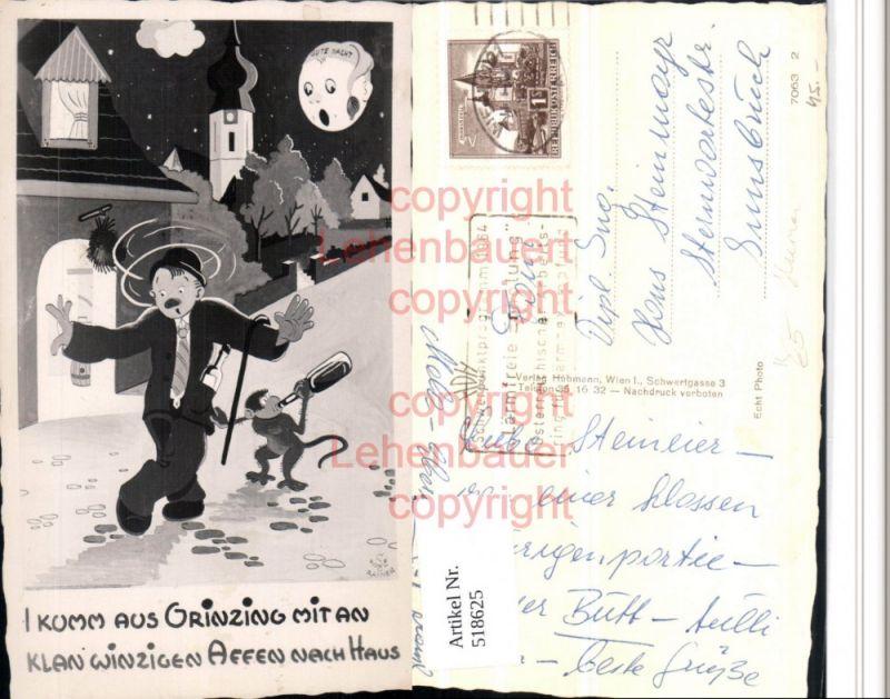 Künstler AK Grinzing Trinkerhumor Betrunkener Affe Wein Mondgesicht Humor
