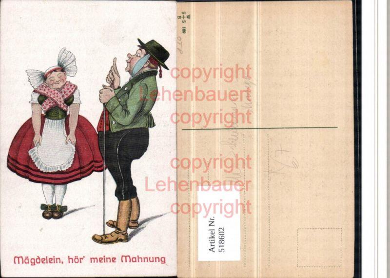 Künstler AK Willi Scheuermann Zahnschmerzen Humor Mägdelein Gehstock