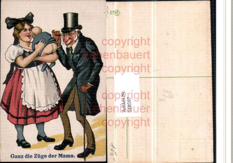 Künstler AK Humor Baby Po Doktor Zylinder Hut Brille ganz die Mama