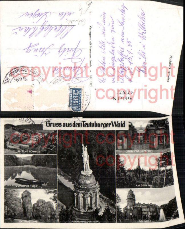Teutoburger Wald Hermanns-Denkmal b. Detmold Schloss Teich Mehrbildkarte