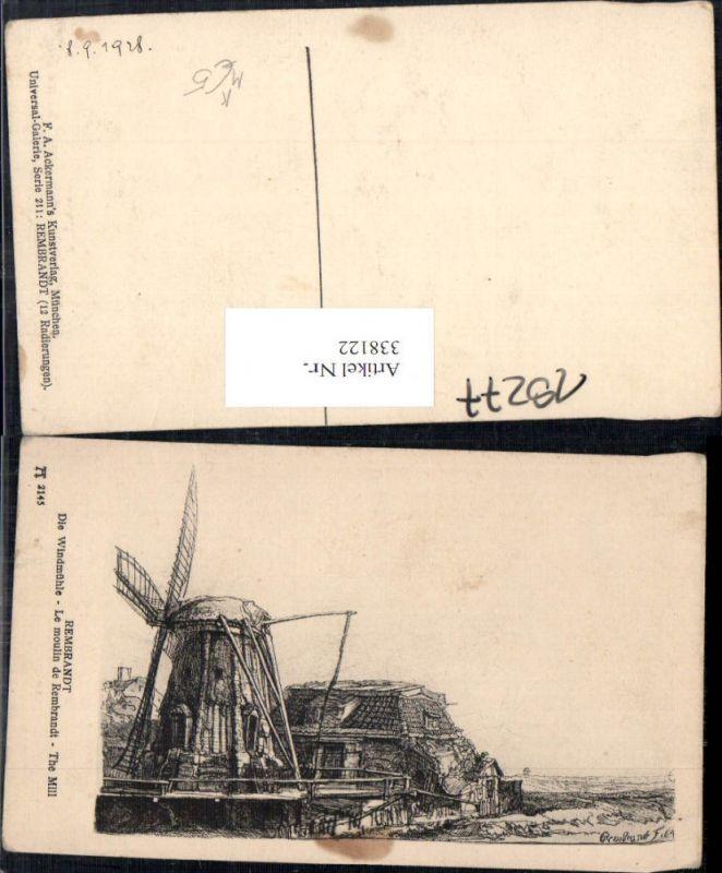 Künstler Ak Rembrandt Die Windmühle Le moulin de Rembrandt