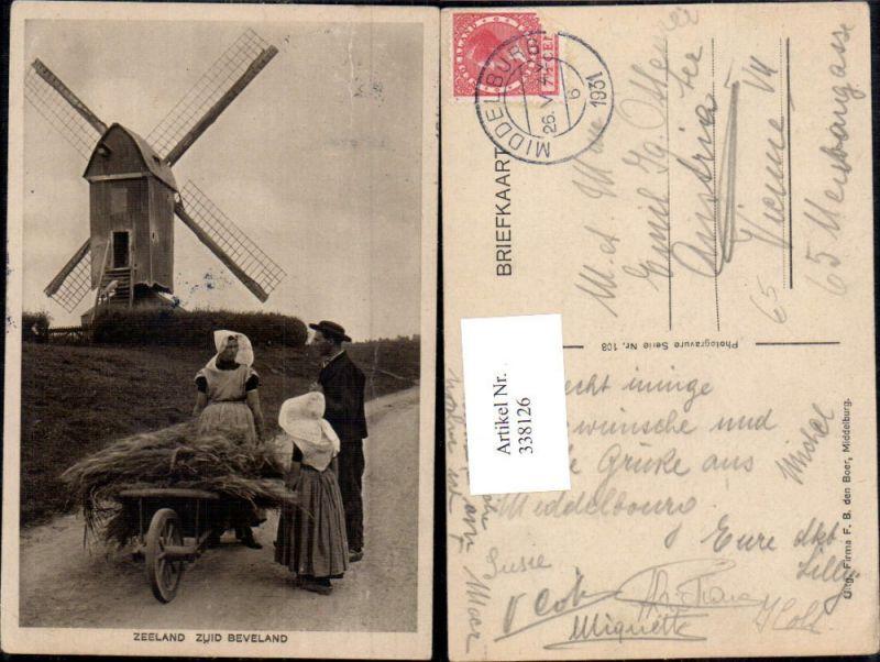 Windmühle Familie Bauern Tracht Typen Zeeland Zuid Beveland Scheibtruhe S