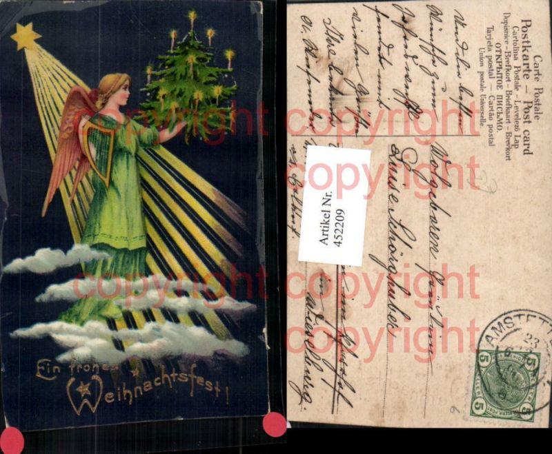 Künstler AK Weihnachten Weihnachtsbaum Engel Harfe Stern