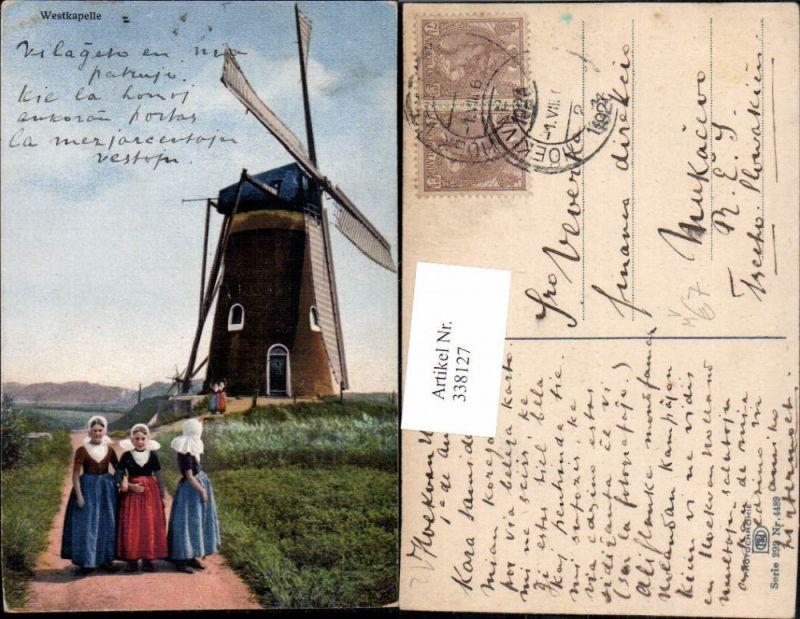 Windmühle Westkapelle Mädchen Tracht Typen pub Photochromie Nenke & Oster