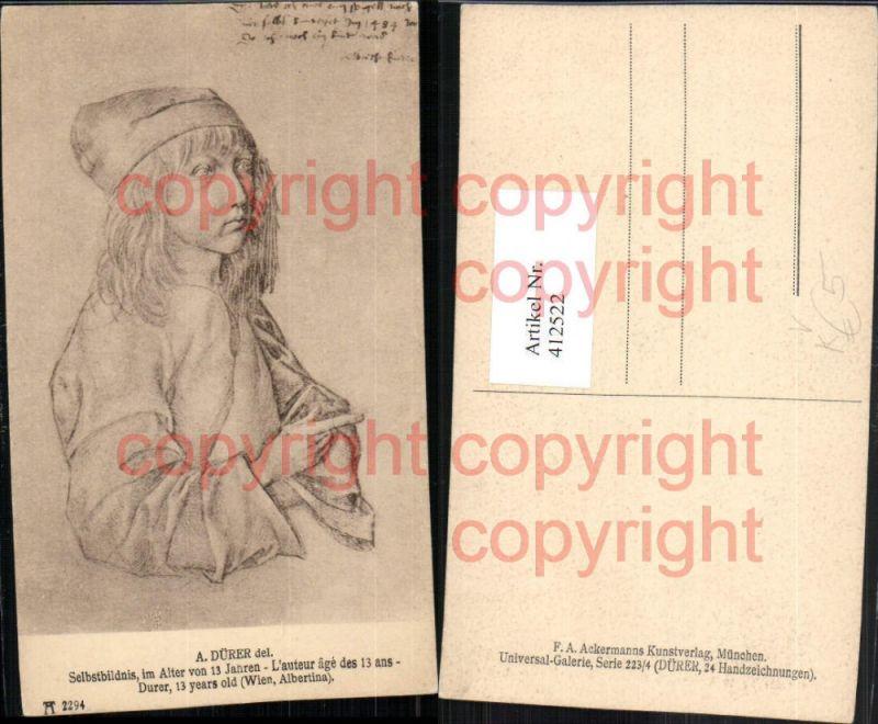 Künstler AK A. Dürer Selbstbildnis im Alter von 13 Jahren pub A. Ackerman