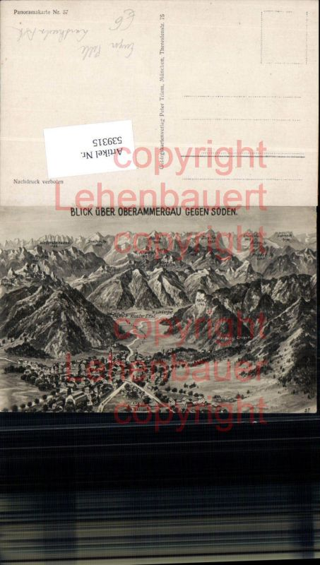 Künstler Eugen Felle Isny Vogelschau AK Oberammergau Ettal