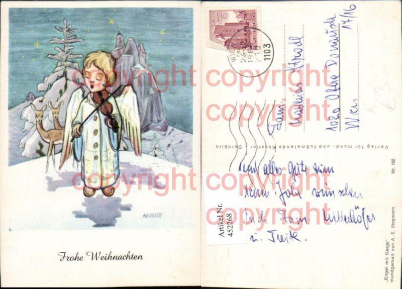 Künstler AK A. E. Stegmann Arnulf Weihnachten Engel Geige Rehe