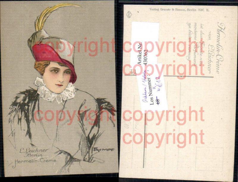 Reklame Fritz Rumpf Jugendstil Frau L. Leichner Hermelin Creme Berlin Fra