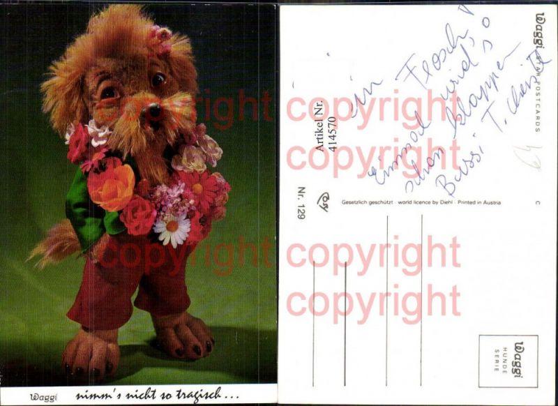 Puppe Plüschhund vermenschlicht Anzug Blumenkranz Waggi