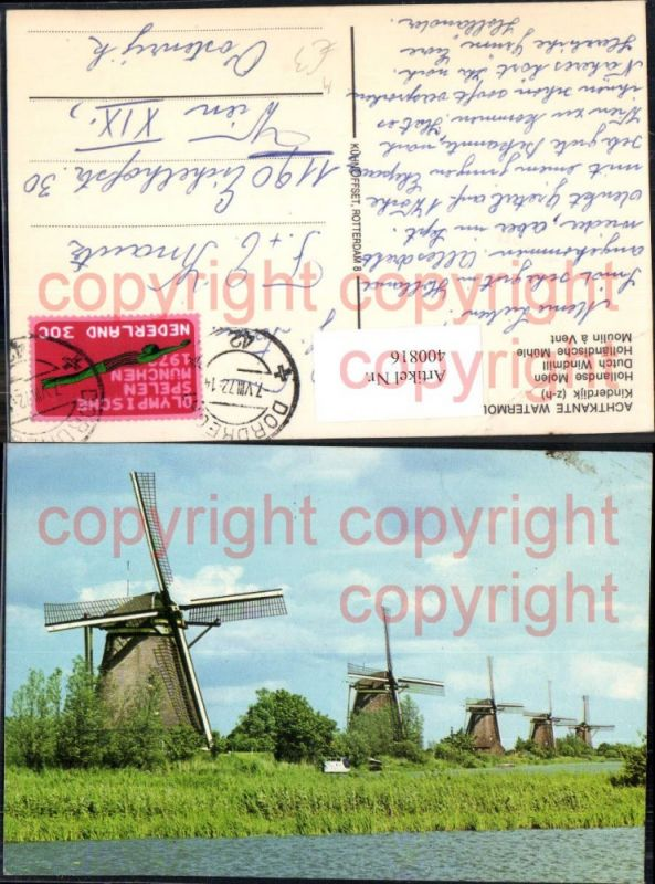 Windmühle Achtkante Watermolens Kinderdijk Hollandse Molen Dutch Windmill