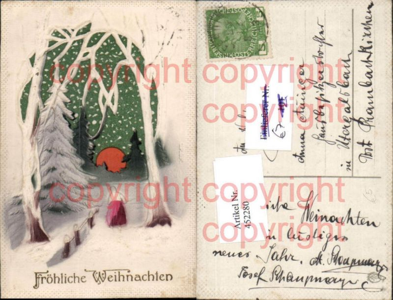 Relief Künstler AK Weihnachten Winterlandschaft Wald