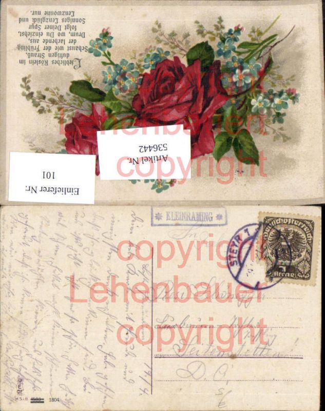 Postablagestempel Postablage Kleinraming Rose Litho