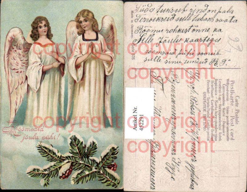 Präge Künstler Litho Weihnachten Engeln Tannenzweig