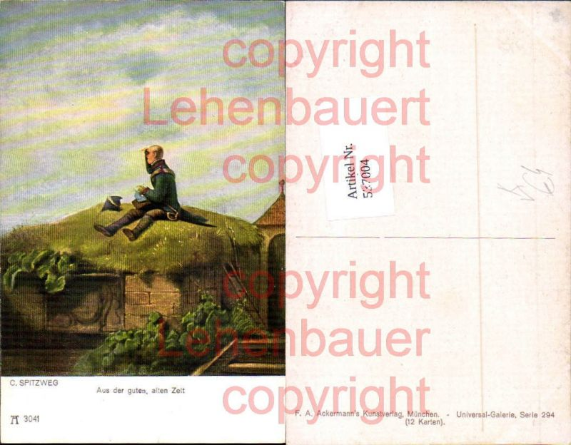 Künstler AK Carl Spitzweg Aus der guten alten Zeit pub Ackermann 3041
