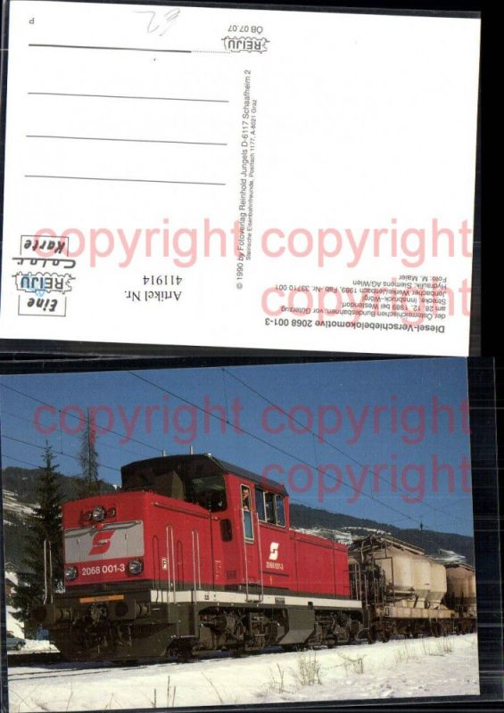 Lokomotive Eisenbahn Diesel-Verschiebelokomotive 2068 001-3 ÖBB Güterzug