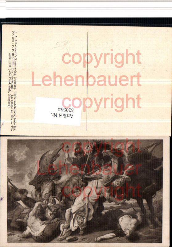 Künstler AK P. P. Rubens Die Löwenjagd Schlacht pub Ackermann 2201