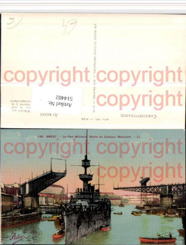 Brest Port Militaire Sortie du Croiseur Montcalm Kriegsschiff Schiff
