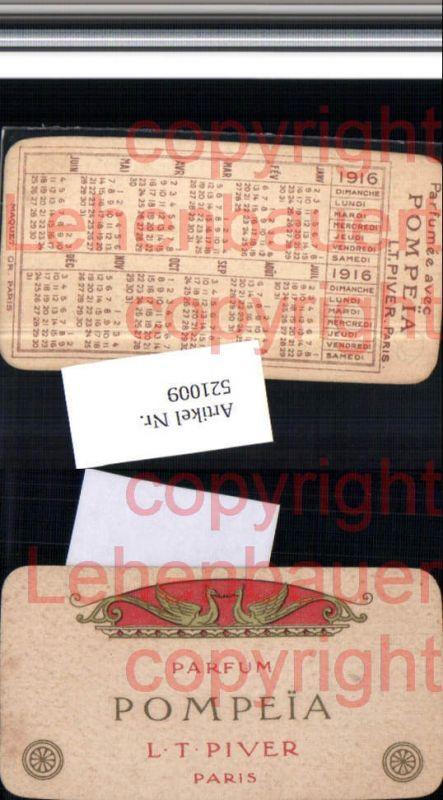 Reklame Beleg Pompeia Pompei Parfum Piver Paris Kalender 1916