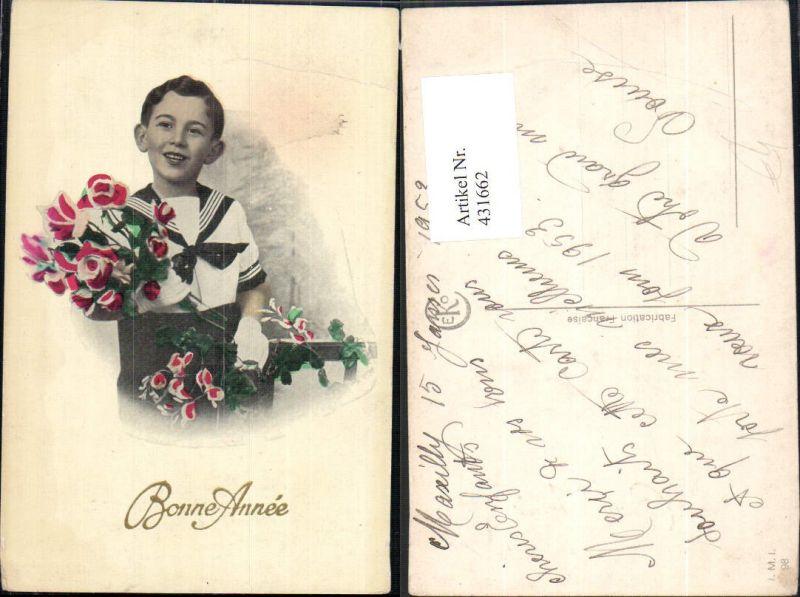 Foto Ak Bub Junge Kind Uniform Matrosenanzug Rosen Blumen