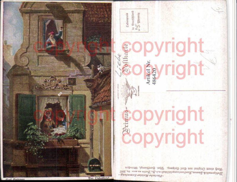 Primus AK 3067 Künstler Carl Spitzweg Der Liebesbrief Fenster Schnur
