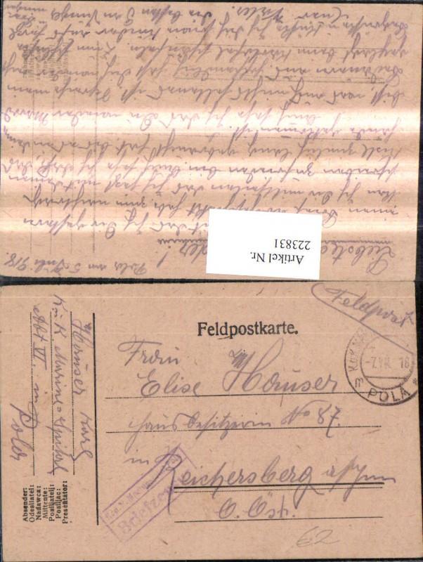 K.k. Feldpost K.k Marinespital Pola Briefzensur Reichersberg a. Inn