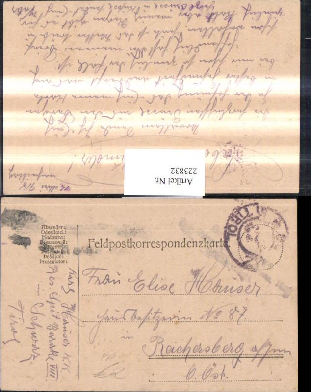 K.k. Feldpost Schwaz Tirol Reservespital Baracke 8 Reichersberg a. Inn
